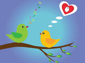 Birds in love with musical notes