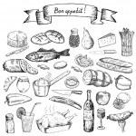 Bon appetit. set of vector sketches...