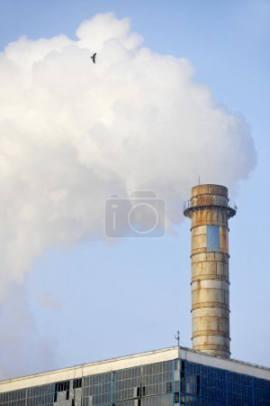 Industrial chimney with huge cloud of smoke