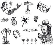 Doodle Set Of Gambling And Luck