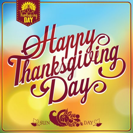 Illustration for Retro elements for Thanksgiving day calligraphic designs. Vintage typographical postcard. EPS 10 - Royalty Free Image