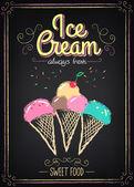 Ice Cream Menu on the chalkboard