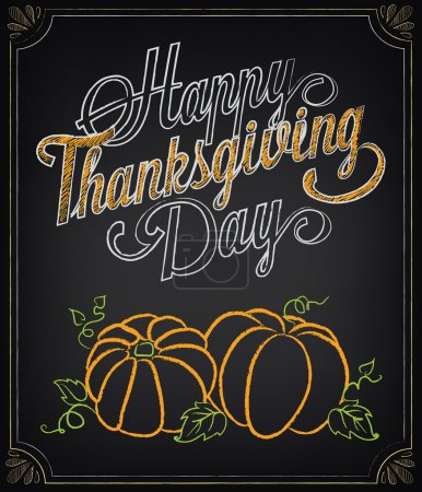 Illustration for Card with vintage elements. Thanksgiving day - Royalty Free Image
