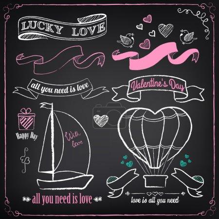 Illustration pour Collection d'amour vintage : cadeau, bateau, coeurs, oiseaux, ballon à air. Craie, dessin à main levée - image libre de droit