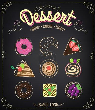 Sweet dessert set on a blackboard. Dessert Menu