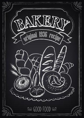 Illustration pour Affiche de boulangerie vintage. Dessin à main levée sur le tableau : pain et autres pâtisseries - image libre de droit