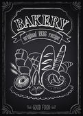 Vintage Bakery Poster with pastry Freehand drawing
