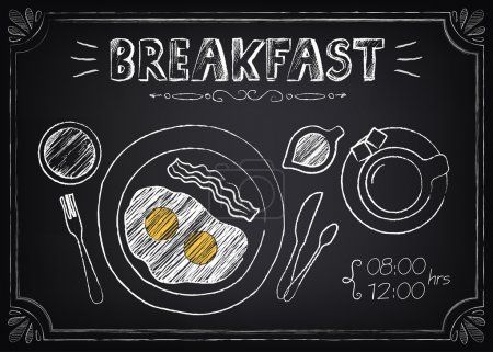 Vintage Poster Breakfast with fried eggs and coffee. Freehand drawing