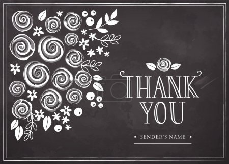 Illustration for Thank you card with floral background. Freehand drawing on a chalkboard - Royalty Free Image