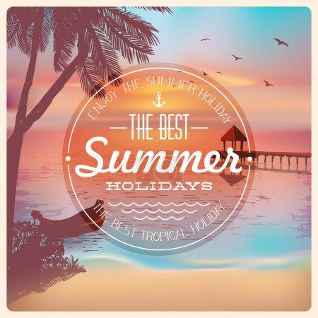 Illustration for Vintage card with a beautiful sunset tropical beach. Retro elements for Summer calligraphic designs. Vintage ornaments. Best summer holidays labels. Vector EPS 10 - Royalty Free Image