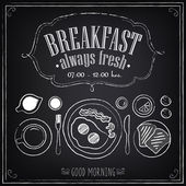 Vintage Poster Breakfast Set on the chalkboard Sketches  for design in retro style