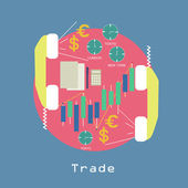 Business Trade around the world Economic concept with graphics and currency symbols and phone trendy style in vector