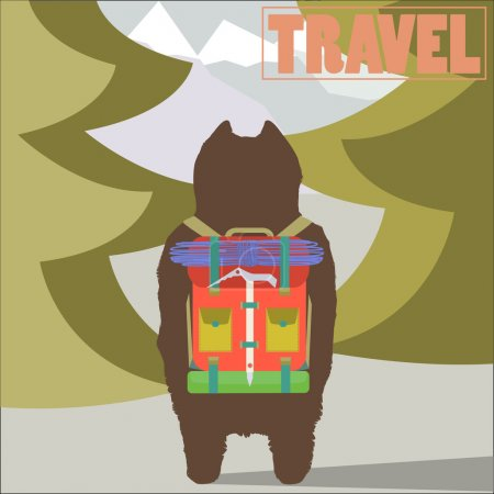 Illustration for Travel concept vector illustration with Hiker Bear traveler with backpack going to mountains back view trendy art design - Royalty Free Image