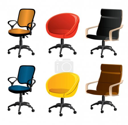 Illustration for Set of vector office chairs - Royalty Free Image