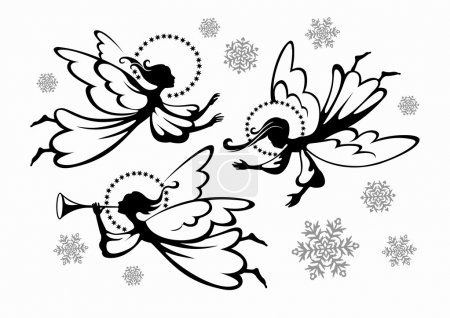 Illustration for Christmas angels and snowflakes - Royalty Free Image