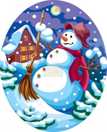Illustration pour Paysage de Noël en soirée avec un bonhomme de neige - image libre de droit