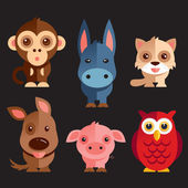 "Постер, картина, фотообои ""Funny Animals Set"""