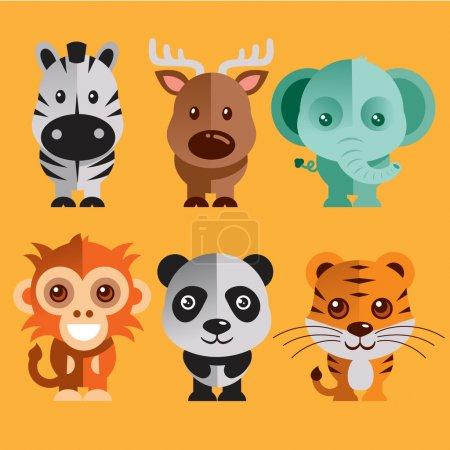 Illustration pour Illustration vectorielle Animaux drôles Set - image libre de droit