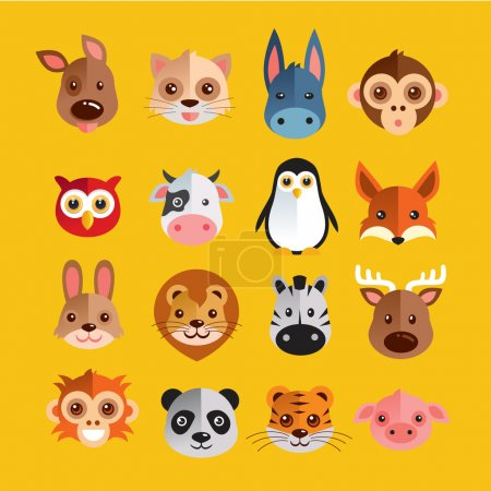 Funny Animal Heads Vector illustration Set...