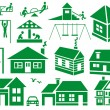 Image of various icons to residential buildings si...