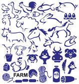 Image icons with a variety of animals and birds and farm products