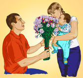 Drawing on the tablet touch Preview couples with baby and flowers Husband gives his wife flowers
