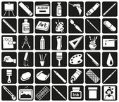 White icons attribute art and stationery in black rectangles