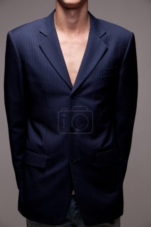 Photo for Man in suit on grey background - Royalty Free Image