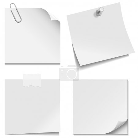 Set of white paper notes with paper clip, clear ta...