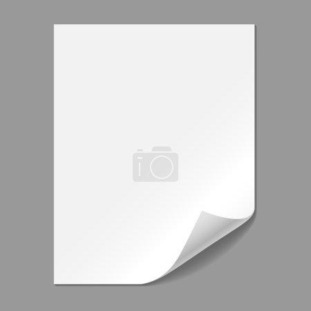 Illustration pour Un seul morceau de papier avec coin pliant, isolé sur un fond gris. Fichier EPS10 avec transparence . - image libre de droit