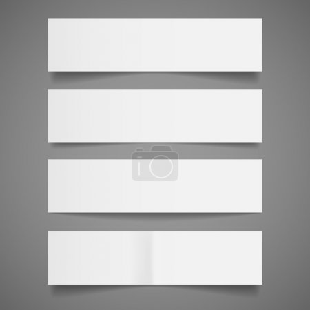 Illustration for Set of blank white paper banners with shadows, isolated on gray background. Vector illustration, Eps10. - Royalty Free Image