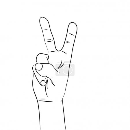 A black and white illustration of a hand in victory sign