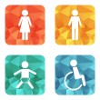 Vector restroom icons on bright buttons - lady, ma...