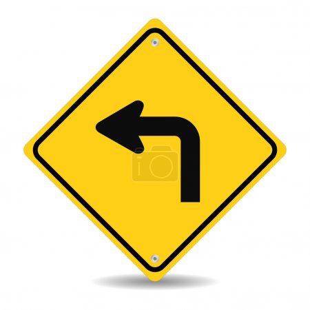 Illustration for Turn left traffic sign siolated on white background - Royalty Free Image