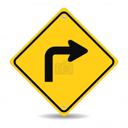 Illustration for Turn right traffic sign on white - Royalty Free Image