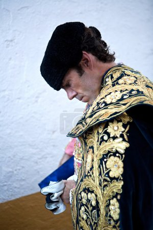 The spanish bullfigher Jose Tomas getting dressed for the paseillo or initial parade