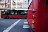 Crossing of urban buses in opposite directions from Gran via