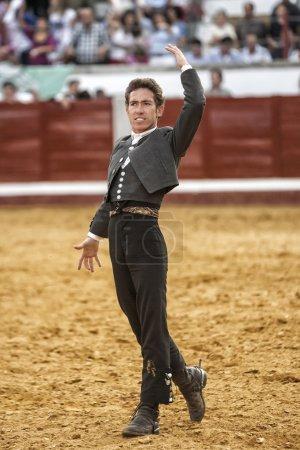 Spanish bullfighter on horseback Leonardo Hernandez bullfighting on horsebackin a gesture of satisfaction and triumph when you just kill the bullin Pozoblanco