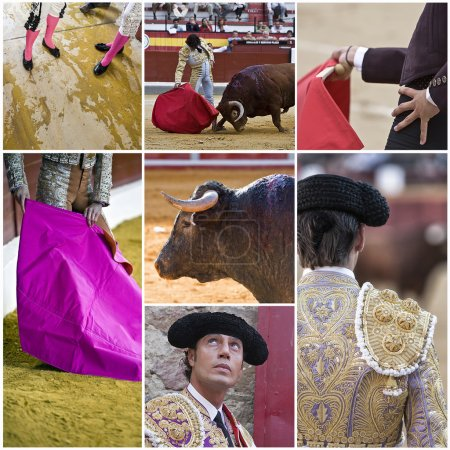 Concept of bullfighting in Spain, collage