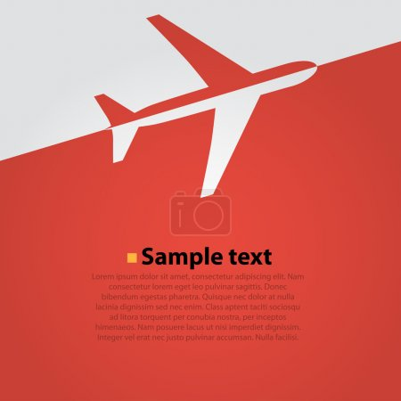Airplane flight vector background. Red