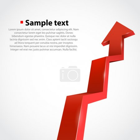 Illustration for Vector growth progress arrow. Red - Royalty Free Image