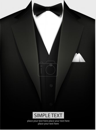 Tuxedo vector background with bow...