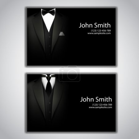 Illustration for Vector triangle jacket and tie and a bow tie. business card - Royalty Free Image