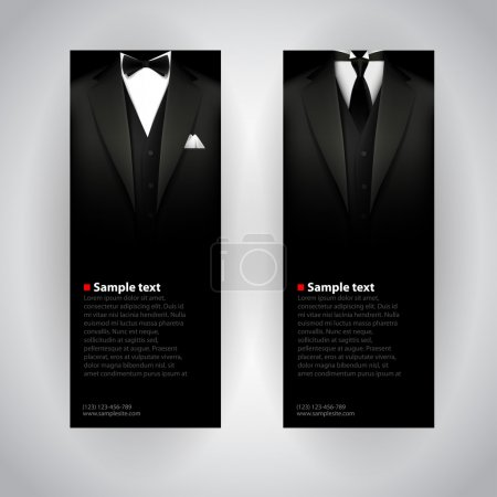 Illustration for Vector business cards with elegant suit and tuxedo. - Royalty Free Image