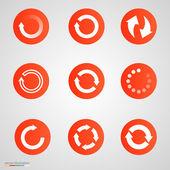 Arrow sign icon set Simple circle shape internet button