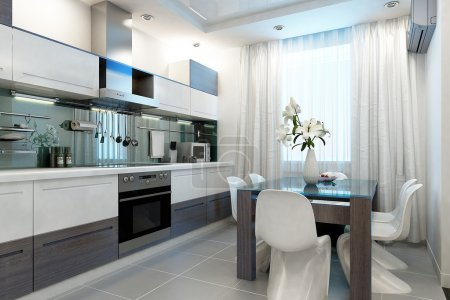 Photo for Modern kitchen interior, 3d render - Royalty Free Image
