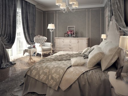 Photo for Classic bedroom interior, design ideas - Royalty Free Image