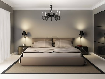 Photo for Interior of modern bedroom, 3d render - Royalty Free Image