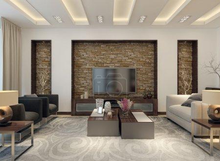 Photo pour Salon style moderne. images 3D - image libre de droit