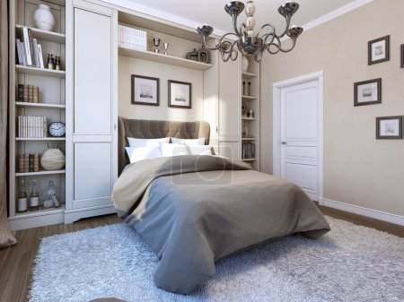 Photo for Bedroom in modern style, 3d image - Royalty Free Image